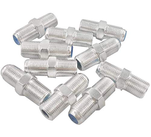 (10 Pcs) MCIGICM Plated F-Type Coaxial RG6 Connector, Cable Extension Adapter (Sliver)
