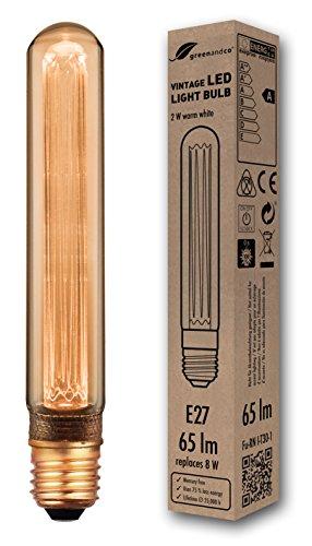 greenandco lampadina a LED di design vintage in stile retrò per l'illuminazione d'atmosfera E27 T30 2W 65lm 1800K (bianco extra caldo) 320° 230V AC vetro, nessun sfarfallio, non dimmerabile