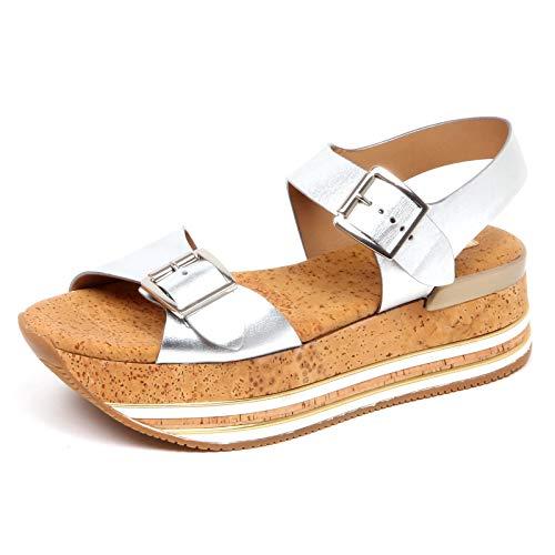 Hogan F4088 Sandalo Donna Silver H354 Scarpe Cork Sandal Shoe Woman [38]