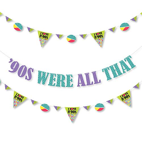 Big Dot of Happiness 90's Throwback - 1990's Party Letter Banner Decoration - 36 Banner Cutouts and '90's were All That Banner Letters