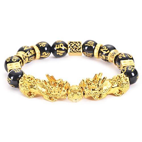 Pulsera Pi Xiu Feng Shui de obsidiana negra budismo para mujeres y hombres ajustable amuleto de la suerte.