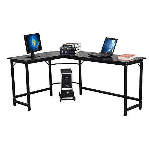 Escritorio en forma de L, escritorio esquinero de mesa, escritorio de ordenador, estación de trabajo para estudios y juegos de oficina en casa, fácil montaje, color negro, 168 x 120 x 72 cm