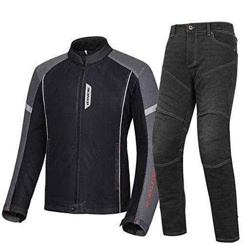 SHOULIEER Giacca da Motociclista Tuta da Motociclista Traspirante Estiva Abbigliamento da Motocross Riflettente Jk117 P075 Gr Suit XXL
