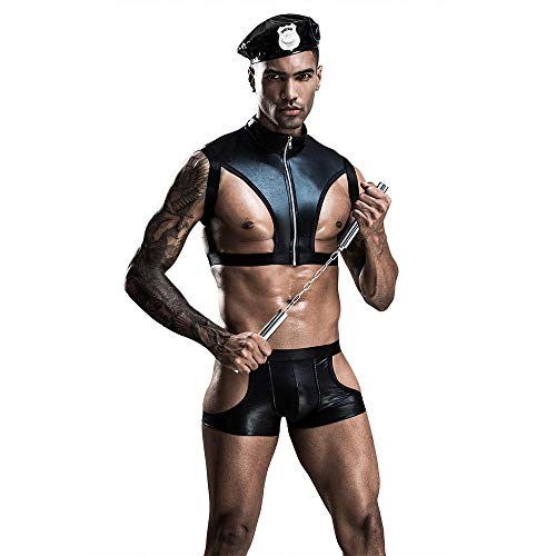 QIROG Conjunto de lencería Sexy para Hombre Juego de Roles Disfraz de policía Masculino Night Club Cosplay Uniforme Outfit-01_One Size