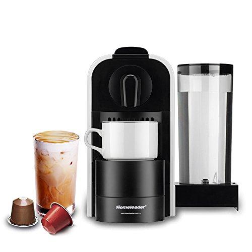 Cafetera de cápsulas Nespresso, Homeleader, cápsulas eléctricas con 0,8 l de depósito, 1400W, 19bar de presión,...