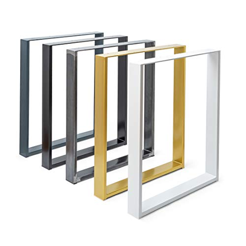 2X Tischgestell   Tischbeine Metall   Tischkufen   Schwarz, Industrial, Weiß, Gold, Anthrazit   alle Größen (B60 x H72 cm Weiß)