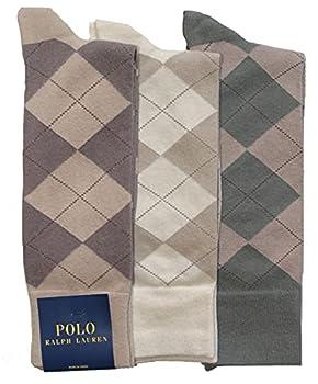 Polo Ralph Lauren Men s 3-pack Argyle Dress Socks  10-13 Khaki Assorted