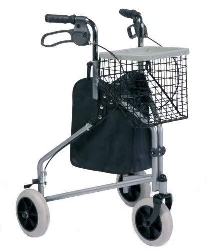 Gehwagen für Senioren mit 3 Rädern   Zusammenfaltbarer leichtgewichter Rollator   Höhenverstellbar   Inkl. Korb und Tragetasche   Maximale Belastbarkeit 130 kg   Modell 201 DELTA VERMEIREN