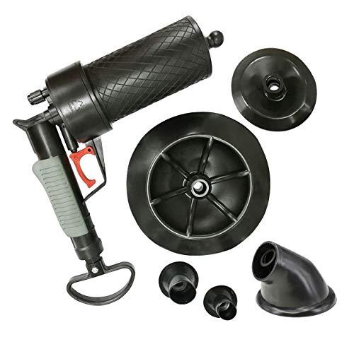 Abflussreiniger Pumpe Pressluft Rohrreiniger + 5 Aufsätze! +4 Bar Druck! Freie Abflüsse in Küche, Bad, WC, Pressluft-Rohrreinigungspistole Rohrreinigung Abflusspumpe
