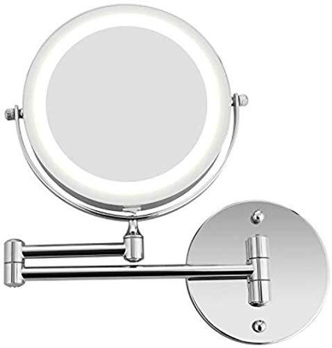 Générique Miroir grossissant avec éclairage LED Miroir grossissant éclairé au Mur Miroir grossissant Plateau 1x / 5X - Pivot Horizontal et Vertical à 360 °