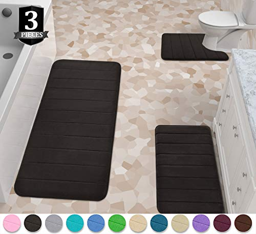 Yimobra 3 Pieces Memory Foam Bath Mat Set, XL, L and U-Shaped Size for Bathroom or Bedroom Rugs, Tub, Contour Toilet Mats, Non-Slip, Soft Comfortable, Super Water Absorption, Machine Washable, Black