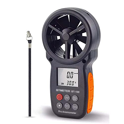 Yousiju Medidor de velocidad del viento anemómetro digital BT-100 para medir la velocidad del viento, la temperatura y el viento frío con la luz de fondo LCD