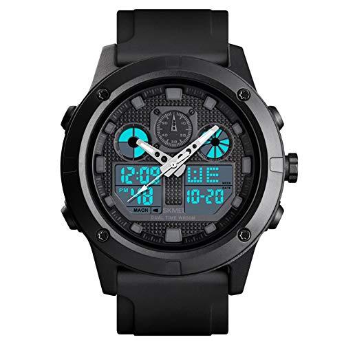 PGODYQ Orologio sportivo da esterno, cronografo impermeabile, con doppio display elettronico, display digitale, braccialetto fitness, colore: nero