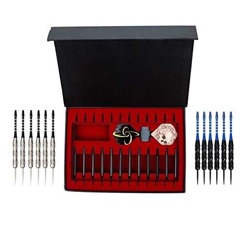 QYA 12pcs / Set Exquisite Geschenkkarton Aluminiumstab professionelles Dart 22g Stift Dart-Set (Color : Black)