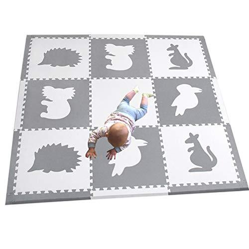 MQIAOHAM 9 stuks Grote witte grijze in elkaar grijpende schuim Baby speelmat tegels - speelmatten met 12 randen. Elke tegel 60 x 60 cm 1,4 cm dik P060BH