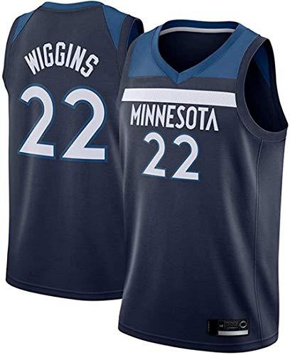 BMSGM NBA Hombres Jerseys-NBA Minnesota Timberwolves NBA # 22 Andrew Wiggins Camiseta De Baloncesto Sin Mangas Camiseta Deportiva, Malla De Tela Transpirable,A,XL(180~185CM/85~95KG)