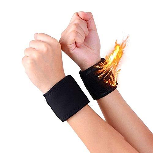 QIUXIANG-Wristbands 1 Paar schwarz verstellbare selbsterhitzung warmes Handgelenk Band turmalin Magnet handgelenkstütze Riemen Wraps Sport Armband Armbänder für Events (Color : Black)
