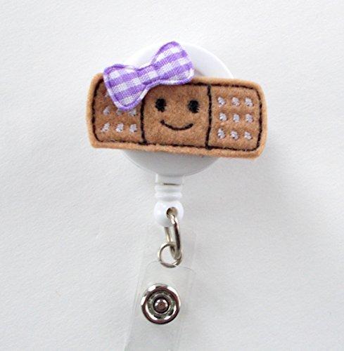 Smiling Bandage Purple - Retractable Badge Reel - Name Badge Holder - Nurse Badge Holder - Pediatric Nurse Badge - Felt Badge - RN Badge Holder