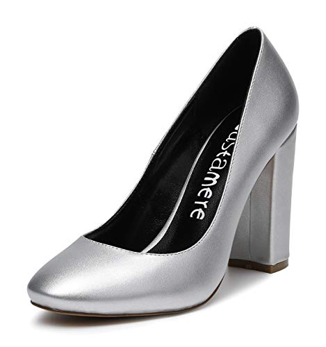 CASTAMERE Mujer Clásico Tacón Ancho Zapatos de Tacón Confort Punta Redonda Zapatos...