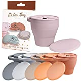 It's Our Thing | Neutral Colored Snack Cup with Lid | Toddle and Baby Collapsible Silicone Container with Matching Cover (Dusty Pink)