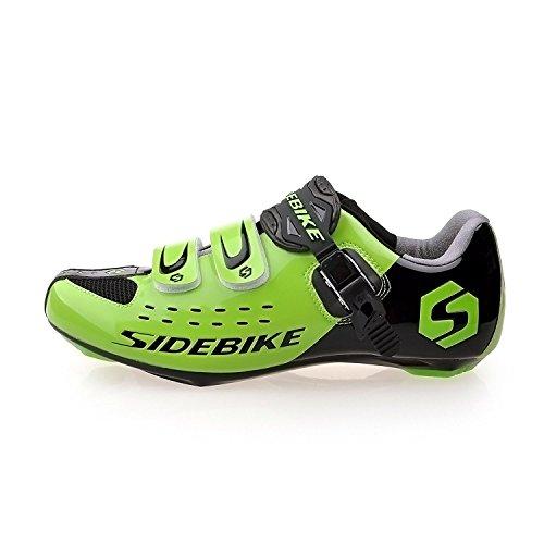 TXJ Unisexo Zapatos de Bicicleta de Carretera (Elija Un Tamaño Más Grande de Lo Habitual)(SD-001 Negro-Verde,42)