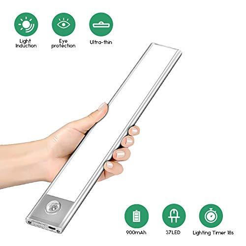 LED Schrankleuchten Sensor Licht, 37 LEDs Unterbauleuchte Küche Wiederaufladbar Schranklicht mit Bewegungsmelder, Unterbauleuchte für Theke, Kleiderschrank, Küche, Schublade, Flur, Treppe (23.5cm)