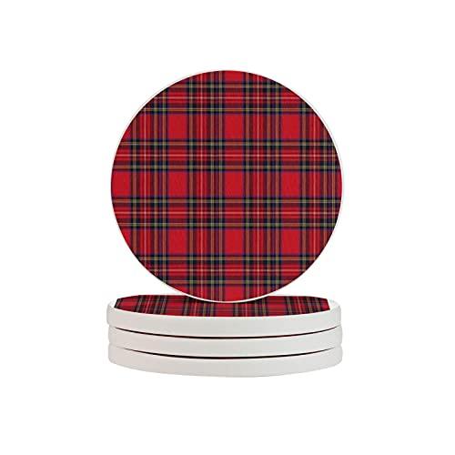 Royal Stewart - Cojín de tartán (4 piezas, redondo, absorbente de diatomitas), diseño de tartán