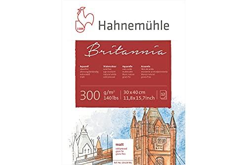 Hahnemühle Aquarellkarton Britannia, matt, 300 g/m², 30 x 40 cm, 12 Blatt