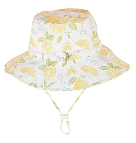 FEOYA Chapeau de Soleil Bébé Fille Fleur Imprimée Bonnet en Coton Printemps été Protection pour Plage/Voyage/Randonée Blanc (3-4 Ans, Motif-1)