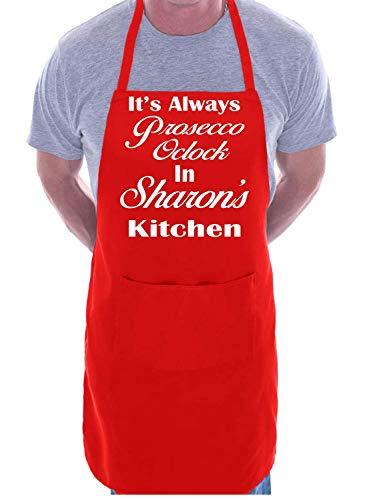 BorisMotley op maat gemaakte schort Prosecco O'Clock Sharon's keuken blauw