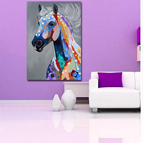 Kunst bunte Öl Tier tragen Brille Familie Malerei Leinwand Bild Leinwand Druck Wandbild (kein Rahmen) R1 40x50 cm