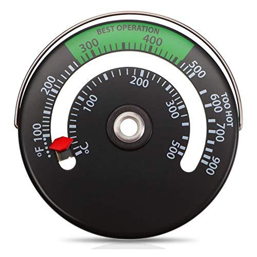 Upgrade Termómetro De Chimenea Termómetro de Estufa Magnético De Aluminio para Temperatura del Horno De Tubo De Chimenea De Leña, 0-500 ° C / 100~900 ° F