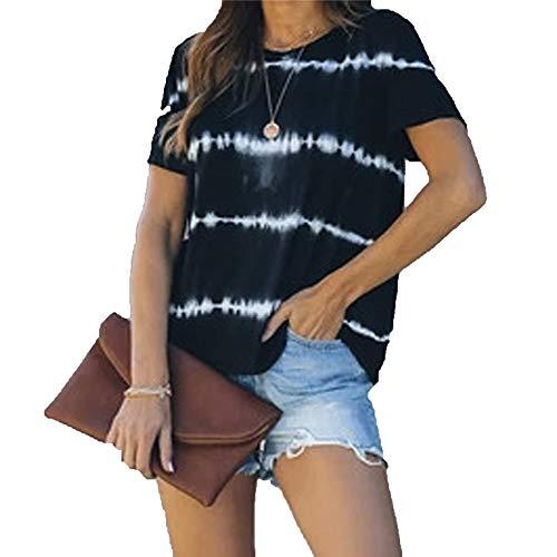 ZFQQ Sommer neues T-Shirt gestreiftes Top-Print lässiges Rundhalsausschnitt Kurzarm großes Damen-T-Shirt