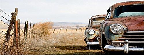 artissimo, Glasbild, 80x30cm, AG3446A, Rusty Cars, Autos, Oldtimer, Bild aus Glas, Moderne Wanddekoration aus Glas, Wandbild Wohnzimmer modern