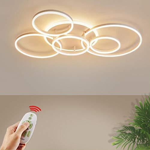 Lampada da soffitto a LED moderno 6 anello design con remoto lampada da soffitto acrilico dimmerabile lampada da soffitto 6 fiamma soggiorno lampada soggiorno camera da letto lampada interna,Bianca