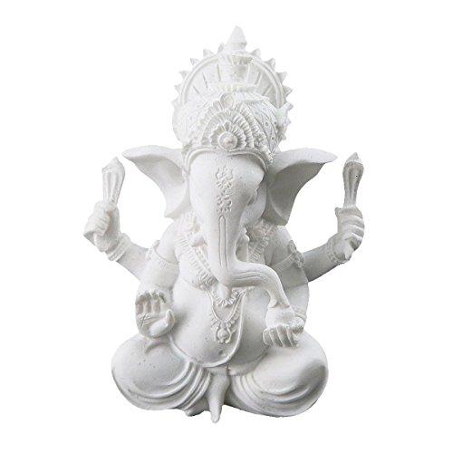 White Ganesha Elephant God Statue Sandstone Handmade Sculpture Buddha Figurine Decoration for Home Decoration Crafts Gifts
