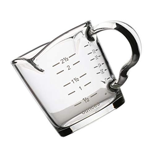 Uonlytech Vaso medidor de cristal, doble boquilla, para espresso, transparente, escala onzas, jarras, mezclas, con mango resistente al calor, para fiestas, vino, leche y café