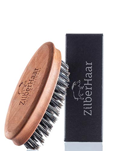 ZilberHaar Pocket Mustache and Beard Brush - Stiff Boar Bristles Small Brush - Perfect Beard Grooming Tool - Relieves beard itch - Short and Medium - Made In Germany