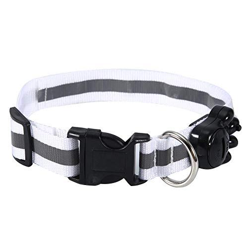 HEEPDD Collar de Perro, Nylon Ajustable LED Perros Luminoso Reflectante Light Up Correa para el Cuello Plástico Ajustable Flexible Pet LED Collar Brillante para Perros(Blanco)