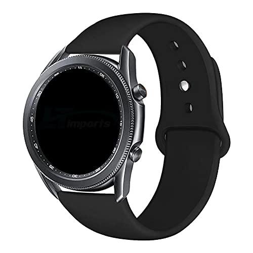 Pulseira Sport Lisa 22mm compatível com Samsung Galaxy Watch 3 45mm - Galaxy Watch 46mm - Gear S3 Frontier - Amazfit GTR 47mm - Marca LTIMPORTS (Preto)