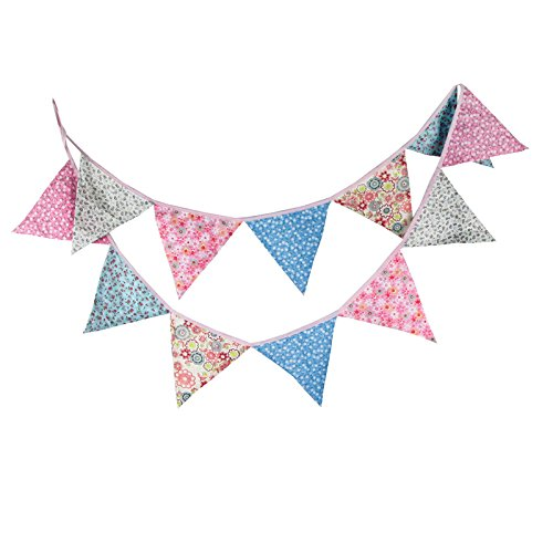 G2PLUS 10.8 Feet Floral Bunting Banner, Vintage Cloth Shabby Chic Flag Garlands, Double Sided Fabric Triangle Pennants for Birthday Parties Ceremonies Kitchen Bedrooms
