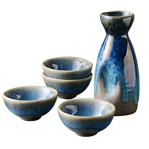 LTLWSH 5 Piezas de Licor japonés, Set de Porcelana, Tazas de cerámica Tradicionales, Manualidades Copas de Vino