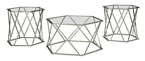 Signature Design by Ashley – Madanere Contemporary 3-Piece Table Set – Includes Cocktail Table & Two End Tables, Chrome Finish