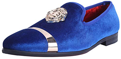 ELANROMAN Loafers Men Casual Leather Shoes for Men with Gold Buckle Plate Penny Slippers Slip on Wedding Party Shoes Blue US 9 EUR 42 Feet Lenght 285mm