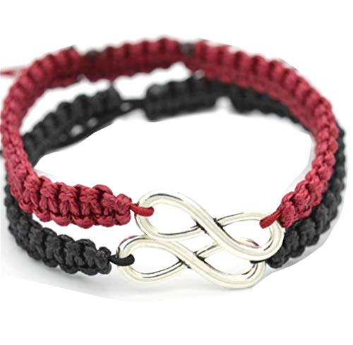 Kiokioa Couple Bracelets His and Hers 8 Infinity Bracelets Jewelry for Lover Girlfriends Wrist (Black and Red Wine)