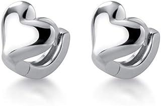 Minimalist Love Heart Cartilage Hoop Earrings S925 Sterling Silver Dainty Small Tiny Round Huggie Hoops 6mm Tragus Piercin...