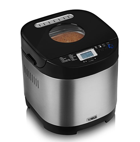 Tower Digital Bread Maker 13 Preset Functions Including Gluten Free and Jam Options, Keep Warm Settings, 0.9 Litre, 650 W, Stainless Steel
