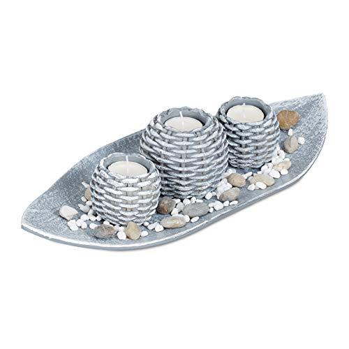 Relxdays Kerzen Deko, Kerzenschale, Dekokies, Flechtoptik Kerzenhalter, stimmungsvolle Tischdeko, 38,5 cm lang, grau