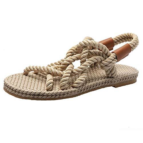 Roast Sandalias Zapatos de Mujer Estilo Cuerda Trenzada Zapatos creativos Simples Zapatos de Verano para Mujer, Beige, 39