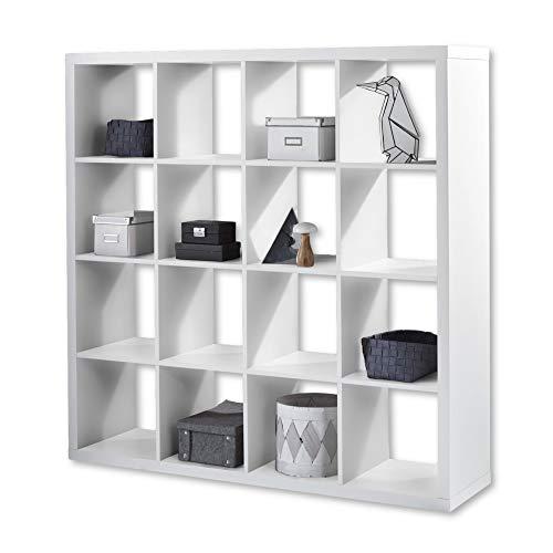 STYLE Modernes Würfelregal Weiß, ideal für Faltboxen - Praktisches Raumteiler Regal mit offenen Fächern - 147 x 147 x 38 cm (B/H/T)